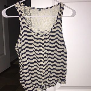 Striped button up tank top